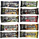 Raw Revolution New 10 Flavor Variety Pack with Chunky Peanut Butter Chocolate and Cranberry Almond and Coconut, 10 Count