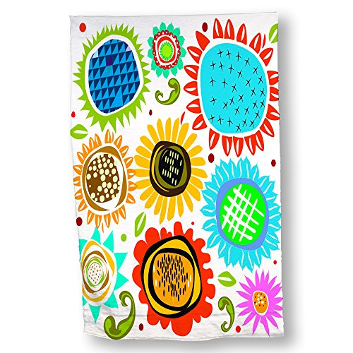"Luxurious Microfiber Hand Towel Multi-purpose Highly Absorbent Extra Soft Wash Cloth with Personalized ""Vibrant Flowers 2"" by Erica Dornbusch Custom Printed Hand Towels, 15.5"" x 24.5"""