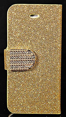Mylife Gold Sparkle Bling - Glamerous Design - Textured Koskin Faux Leather (Card And Id Holder + Magnetic Detachable Closing) Slim Wallet For Iphone 5/5S (5G) 5Th Generation Itouch Smartphone By Apple (External Rugged Synthetic Leather With Magnetic Clip