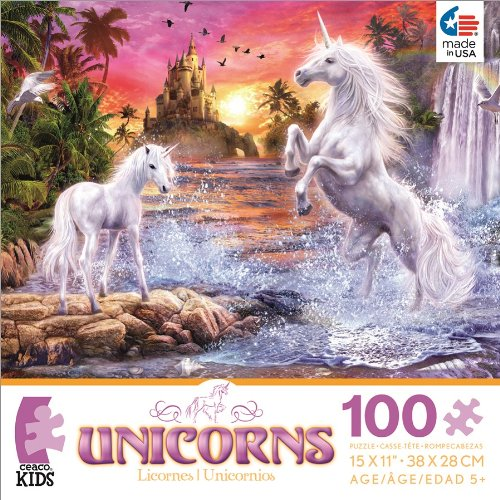 Unicorns Unicorn Waterfall Sunset Jigsaw Puzzle