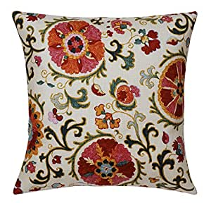 Throw Pillow Covers Made In Usa : Amazon.com: Pillow Covers Throw Pillows Couch Accent Suzani Red Cotton 18 x 18 Square Pillow ...
