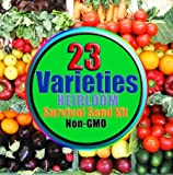 Survival Seed Kit- 23 Varieties - Non GMO - Non Hybrid - Emergency Seed Bank