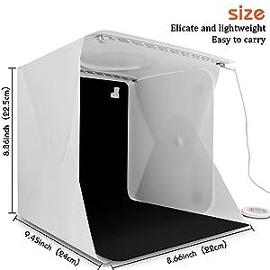 Elegant Choise Photography Photo Studio Top Hole Folding Professional Photo Light Box Portable Photo Studio Shooting Tent with 2 LED Lights 6 Backgrounds 9.8 x 9.3 x 8.7 Inch (Color: Shooting Tent with Top Hole)