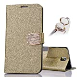 Bling Shiny PU Leather Case for Samsung Galaxy S5 I9600 PU Leather Flip Case Book Style with Bling Rhinestone Golden credit card slot wallet Shell Protective Case Cover Bag Bling Glitter Glossy Magnetic Closure Belt + 1x Kristal bow Anti Dust Plug (Gold)