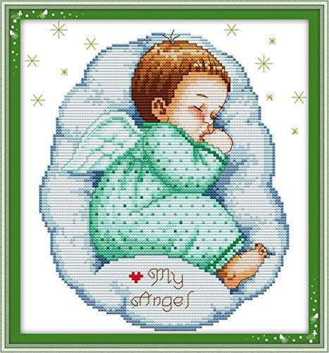 YEESAM ART® New Cross Stitch Kits Advanced Patterns for Beginners Kids Adults - Asleep Angel Baby Boy 11 CT Stamped 33×35 cm - DIY Needlework Wedding Christmas Gifts (Counted Cross Stitch Software compare prices)