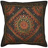Handcrafted Mirror Work Design Indian Silk Embroidery Work Single Cushion Cover 16x16 Inches Mother's Day Gift