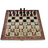 Standard Wooden Chess Set Game With Foldable Board And Storage For Adults And Kids