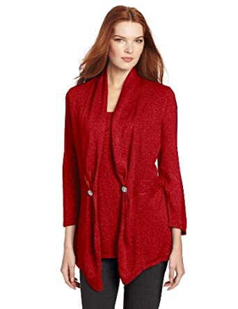 Sag Harbor Women's Novelty 3/4 Sleeve Flyaway Duet Sweater, Red, X-Large