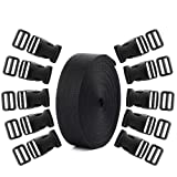Coopay 20 Set Plastic 1 Inch Flat Side Release Buckles and Tri-Glide Slides with 1 Roll 5 Yards Nylon Webbing Straps for DIY Making Luggage Strap, Pet Collar, Backpack Repairing (Color: Black)
