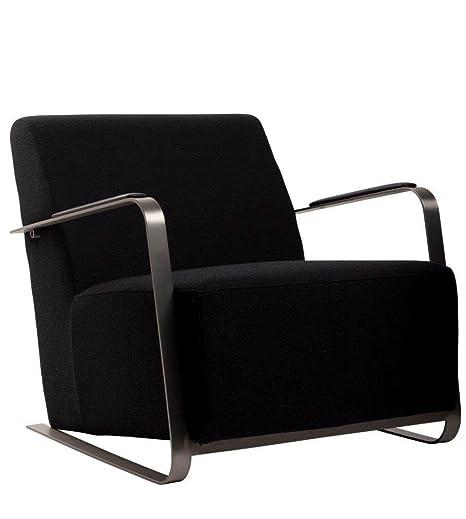 Fauteuil lounge tissu & inox Adwin Zuiver - Couleur - Noir