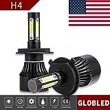 Globled H4 9003 HB2 200W 20000LM 4 Sides LED Headlights Bulb 6000K High/Low Beam (Color: Black, Tamaño: H4)