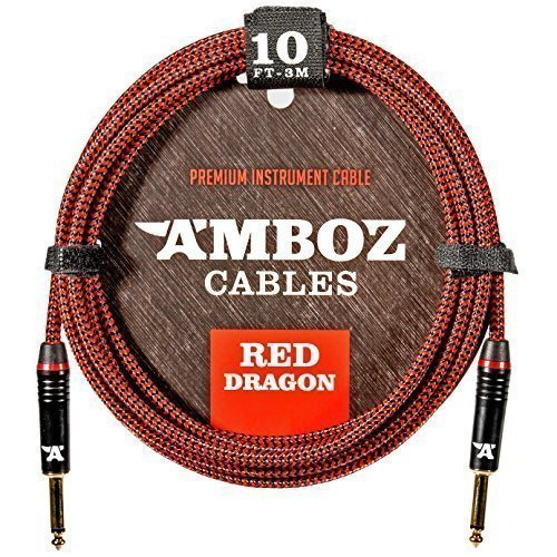 Red Dragon Guitar Cable - Sturdy & Durable Instrument Cable For Electric & Bass Guitar Players - Super Noiseless, Used By Amateurs & Pros Alike - 10