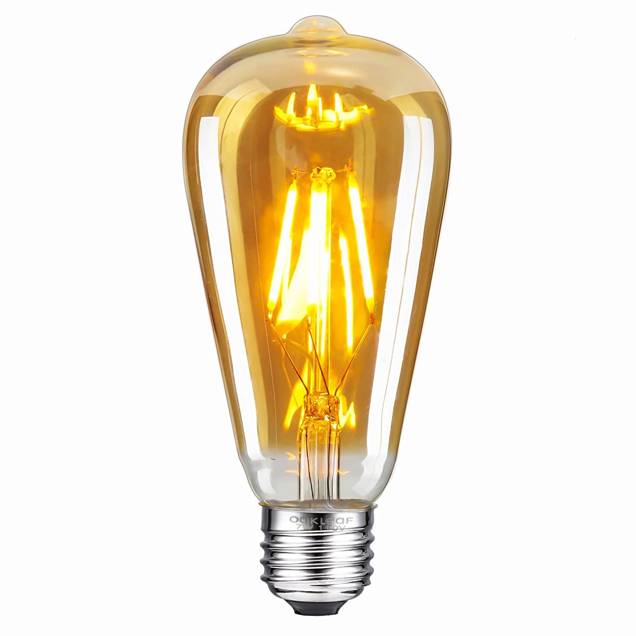 Antique LED Bulb, Oak Leaf 4W ST64 Vintage Antique Style Edison Bulb E26 2200K Warm White LED Light 40W Equivalent, 400lm, Amber Glass, Pack of 6 0