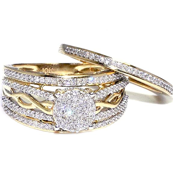 Midwest Jewellery Women's 10K Gold Bridal Wedding Ring Set 1/2Cttw Diamond 11.5Mm Wide Woven Side(I/J Color 0.5Cttw)