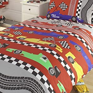 Childrens/Kids Boys Racing Cars Design Bedding Sheets Set (Twin Bed) (Red/Grey)