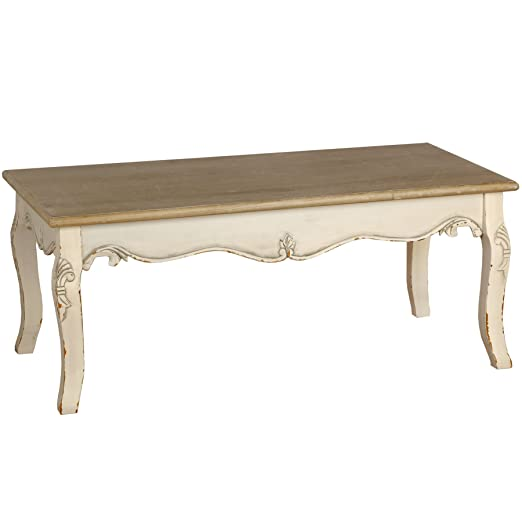 UNIQUECHIC FURNITURE - FRENCH COUNTRY CREAM & WOOD RECTANGULAR COFFEE TABLE