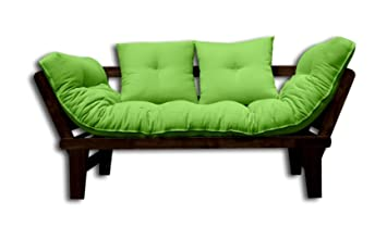 Canapé-lit Sésamo, Wenge, Futon Vert, 200x82x32 cm