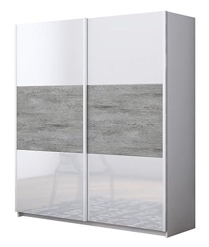 Armadio L.181,5x200 scorrevole cemento e laccato bianco AR9302 L181.40h200p63
