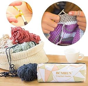 Large Crochet Hooks, BCMRUN Size 6.5mm/7.0mm/8.0mm/9.0mm 10.0mm Crochet Hooks Knitting Needles Set Ergonomic Grip Soft Handles Crochet Hook,Large-Eye Blunt Needles,Stitch Marker, Tape Measure in Case