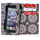 Kroo Bifold Tyvek Wallet with Smart Phone Compartment fits Blackberry Curve 3G 9300 Case - Black & White Swirl