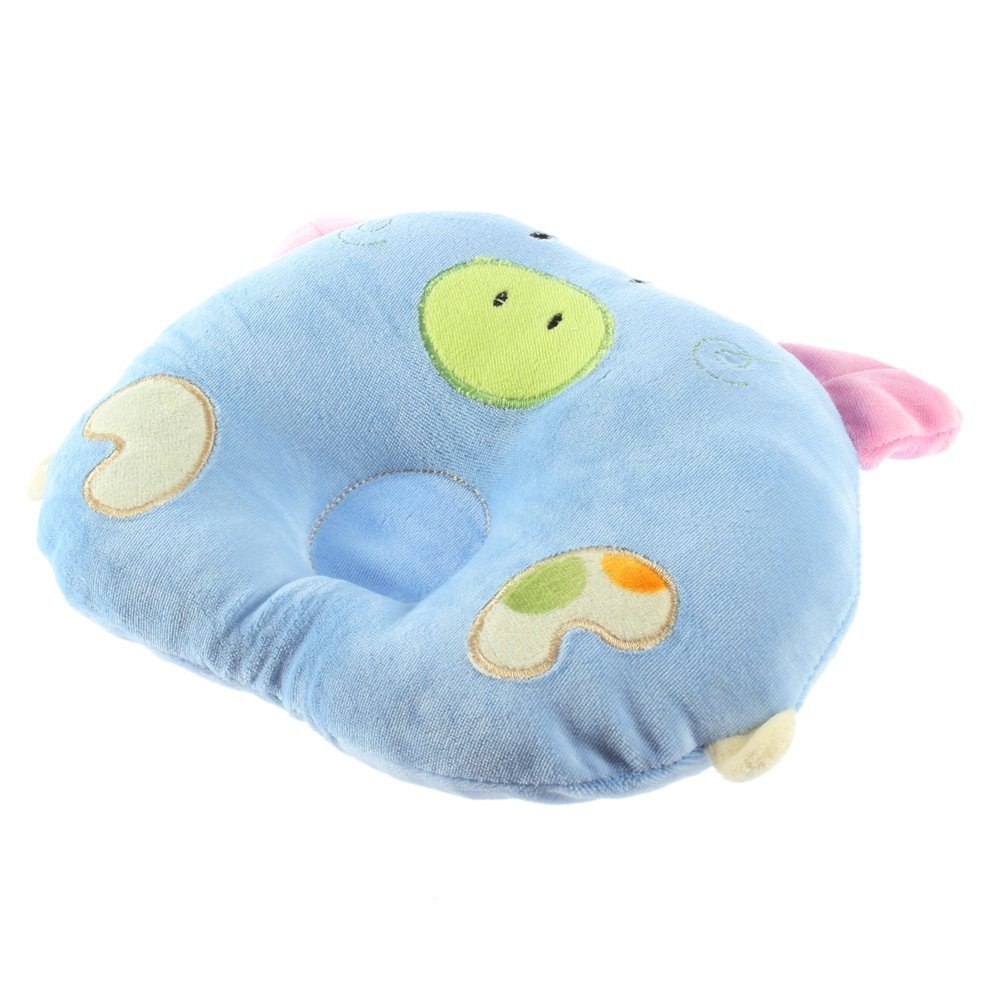 YKS soft Cotton piggy Pig Shaped baby newborn Infant Toddler Sleeping Support Pillow Prevent Flat Head Flathead GIFT (blue)