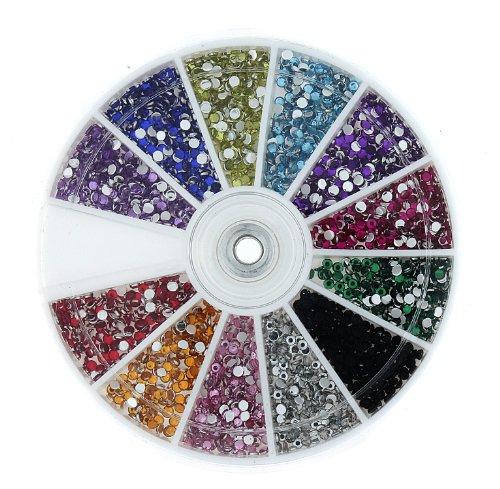 Premium MASH 2400 Piece 12 Color Nail Art Nailart Manicure Wheels w/ 3D Design Rhinestones
