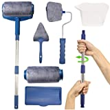 Paint Roller Brush Kit, Multifunctional 6Pcs House Paint Runner Pro Kit with 2 Paint Roller Pro, Extendable Rod, Painting Brush Set for House,School & Office Wall,Ceiling Painting (Silver Gray) (Color: slivery)