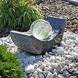 Granit Springbrunnen SB15 mit drehender Glaskugel und LED Beleuchtung Gartenbrunnen