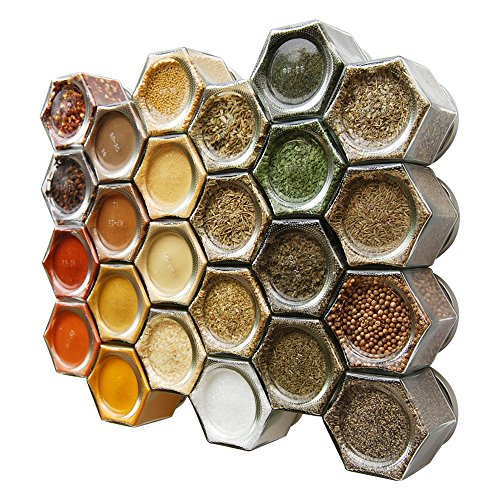 Gneiss Spice Everything Spice Kit: 24 Magnetic Jars Filled with Standard Organic Spices / Hanging Magnetic Spice Rack (Large Jars, Silver Lids) (Replacement Spice Rack Jar compare prices)