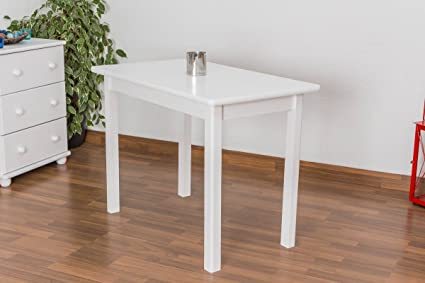 Weißer Esstisch 60x100 cm Kiefer, Farbe: Weiß