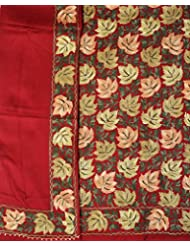 Exotic India Salwar Kameez Fabric From Amritsar With Ari-Embroidered Maple Leave