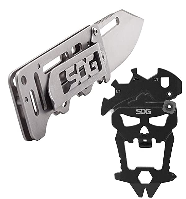 Bundle Includes 2 Items - SOG CashCard Folding Knife EZ1-CP - Stainless Steel Handle, Money Clip, Satin Polished 2.75 Blade and SOG MACV Tool Multi-Tool SM1001-CP - Hardcased Black, 12 Tools in One: (Color: Silver & Black)