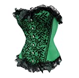 Bslingerie Womens Green Floral & Black Lace Trim Satin Boned Corset Size: XL