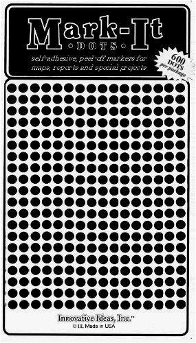 "Map Dot Stickers - Black - 1/8"" Diameter"