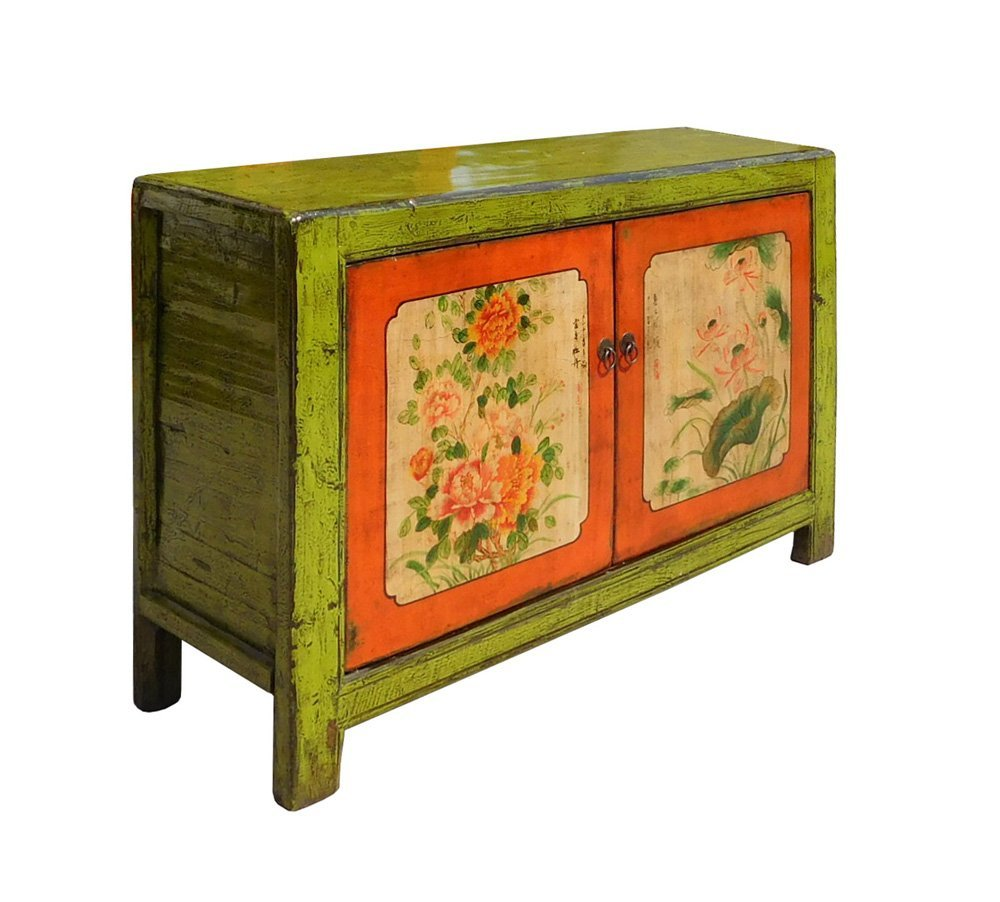 Chinese Lime Green Orange Flower Side Table Cabinet Acs1346 2