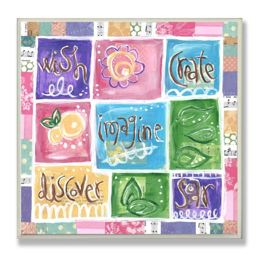 The Kids Room by Stupell Wish, Imagine, Create, Discover, Soar Patckwork Square Wall Plaque