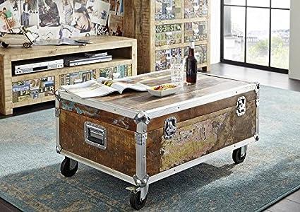 Altholz lackiert Industrial Stil Couchtisch/Container 90x60 Massivmöbel Eisen massiv Holz Industrial #102