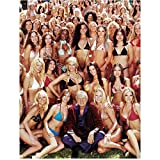 Hugh Hefner 8 inch x10 inch PHOTOGRAPH The House Bunny Beverly Hills Cop II Bettie Page Reveals All Seated on Grass Surrounded by Bikini Clad Girls kn