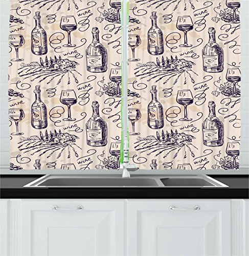 Ambesonne Winery Decor Collection, Wine and Winemaking Winery Grape Field Harvest Season Traditional Culture Art, Window Treatments for Kitchen Curtains 2 Panels, 55 X 39 Inches, Indigo Ivory (Wine Themed Curtains compare prices)