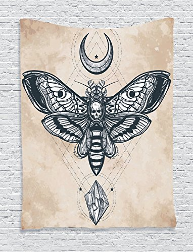Ambesonne Fantasy House Decor Collection, Dead Head Hawk Moth with Luna and Stone Spiritual Magic Skull Illustration, Bedroom Living Room Dorm Wall Hanging Tapestry, Black White Cream