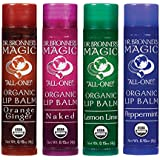 Dr. Bronner's Organic Lip Balm - 4 Pack (Naked, Peppermint, Lemon Lime, Orange Ginger)
