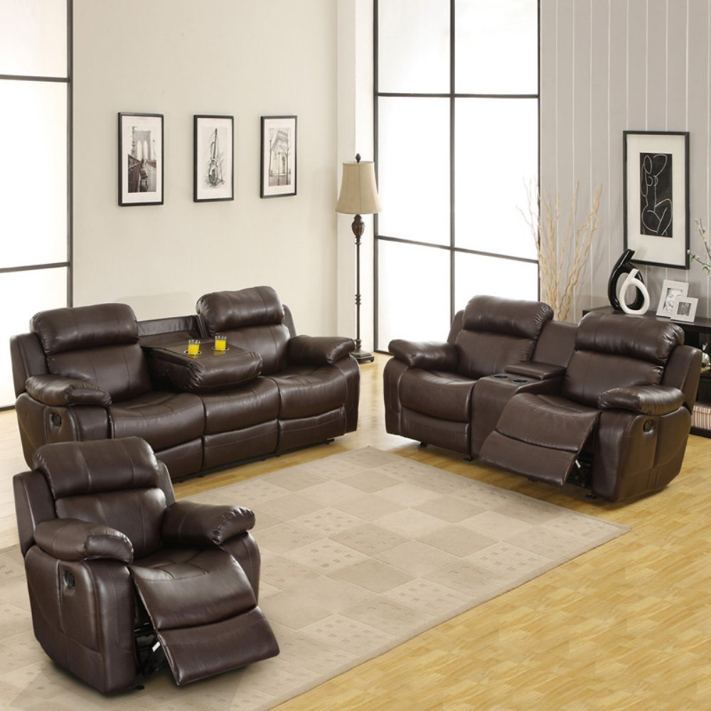Darrin Leather Reclining Sofa Set with Console -