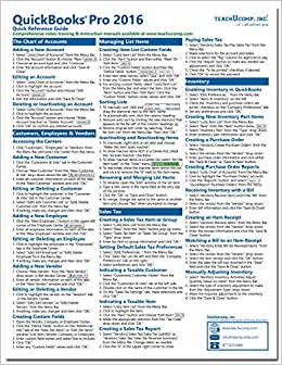 QuickBooks Pro 2016 Quick Reference Training Card