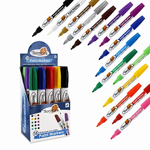 thorntons-art-supply-oil-based-paint-markers-medium-point-assorted-colors-set-of-15
