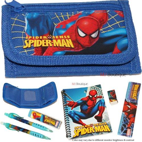 Blue - Marvel Spider Man Wallet FREE Stationary Set School Boy Gift