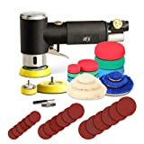 ZFE 1/2/3 Inch Random Orbital Air Sander, Mini Pneumatic Sander for Auto Body Work, High Speed Air Powered Sanders & Polisher with 15 Polishing Pads, 18 Sandpapers, 3 Plates, 1 Screw and Screwdriver (Color: Black, Tamaño: 1 Inch / 2 Inch / 3 Inch)