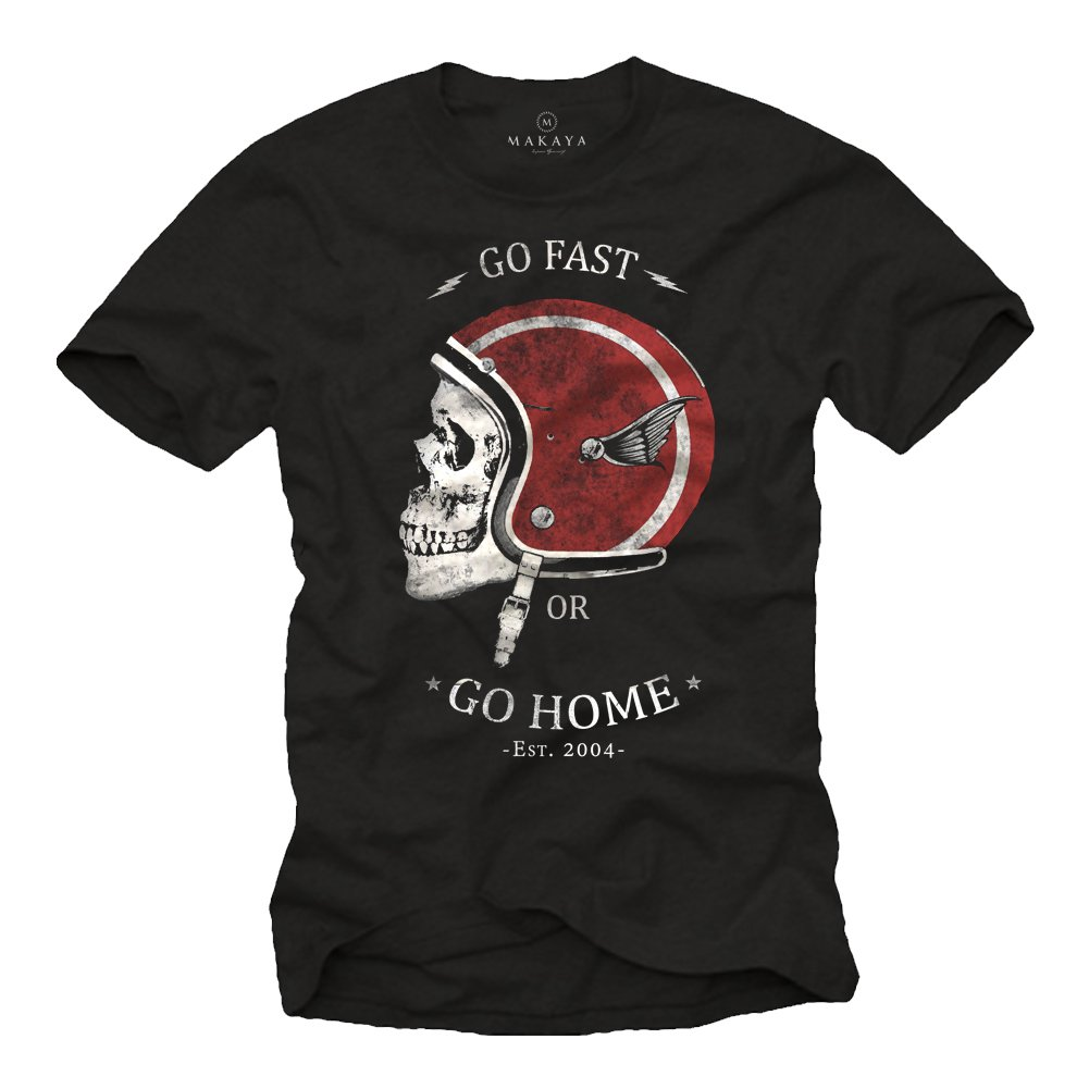 Vintage Motorcycle Helmet T-Shirt for Men - Go Fast Or Go Home 0