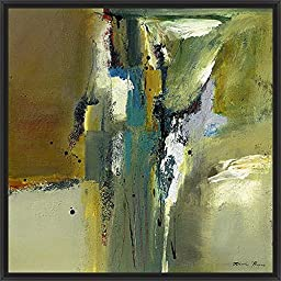 29in x 29in Abstract in Green II by Natasha Barnes - Black Floater Framed Canvas w/ BRUSHSTROKES