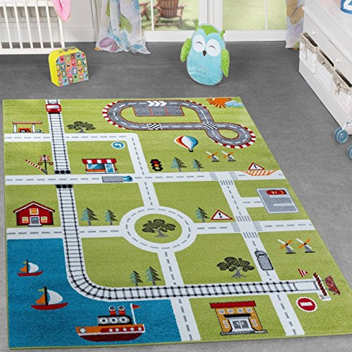 kinderzimmer teppich mit design city hafen stadt stra en spielteppich in gr n. Black Bedroom Furniture Sets. Home Design Ideas