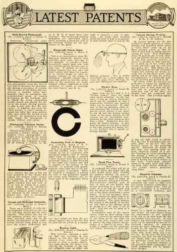 1920 Article Patent Phonograph Clock Magnet Spark Plug Reading Light Compass - Original Print Article